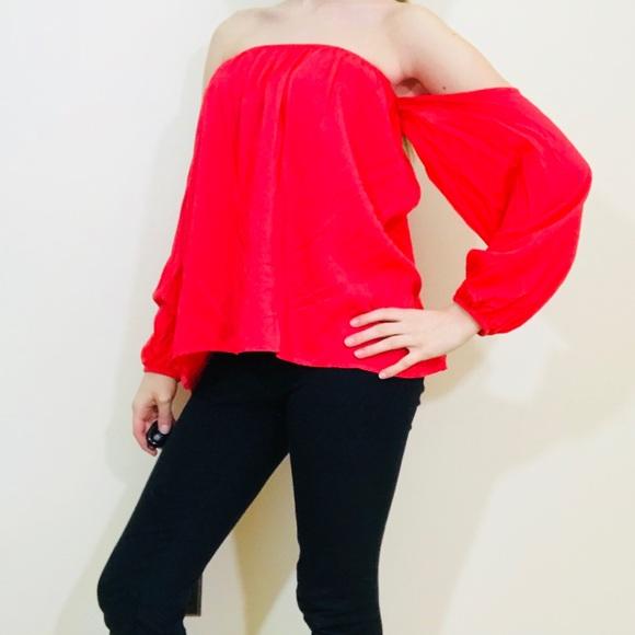 f6bfad01ca98c Elan Tops - Elan Off Shoulder Strawberry Red Shirt